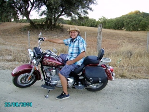 My Husband, John on his Heritage Softail